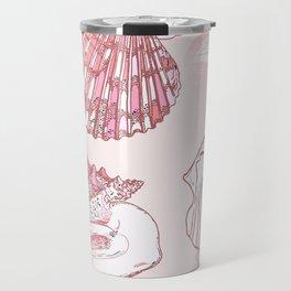 Seashells Coastal Nautical Pattern Pink Travel Mug