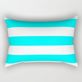 Electric cyan - solid color - white stripes pattern Rectangular Pillow