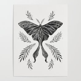 Watercolor Luna Moth in Black and White Poster
