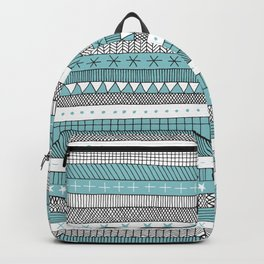 turquoise doodle stripes Backpack