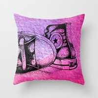 sneakers Throw Pillows featuring Violet Sneakers by ladyberula