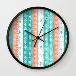 Baltic Bohemian Pattern - Teal Coral Wall Clock