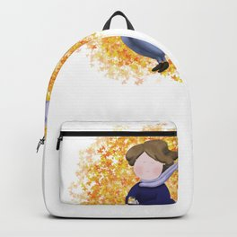 Girl with a mug in the middle of leaves Backpack
