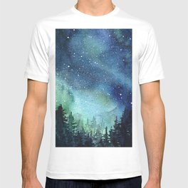Galaxy Watercolor Space Night Sky Nebula Painting Aurora T-shirt