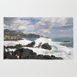 The Power of Sea on the Isle of Sicily Rug