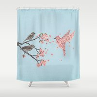 pink floyd Shower Curtains featuring Blossom Bird  by Terry Fan