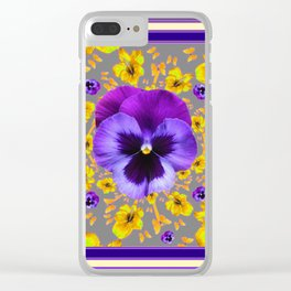 PUCE PANSIES YELLOW BUTTERFLIES & FLOWERS Clear iPhone Case