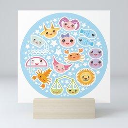 Funny Kawaii zodiac sign Mini Art Print