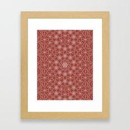 Arabesque Vines Version 1 - Color: Oriental Red/ Silver Framed Art Print