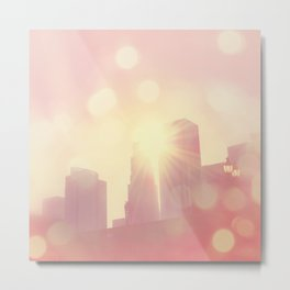 downtown Los Angeles skyline photograph. City of Lights Metal Print