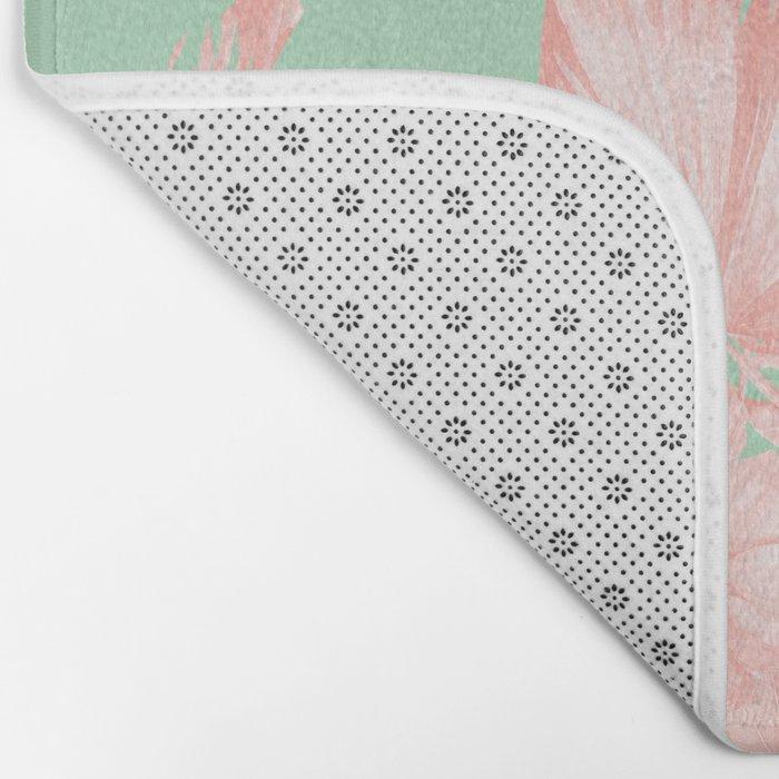 Dreaming of Hawaii Seashell Pink + Light Green Bath Mat