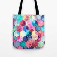 crystal Tote Bags featuring Topaz & Ruby Crystal Honeycomb Cubes by micklyn
