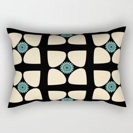 Tear Drop Flower Petals Inset Sunflower Graphic Teal Cream Black Rectangular Pillow