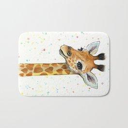 Baby-Giraffe-Nursery-Print-Watercolor-Animal-Portrait-Hearts Bath Mat