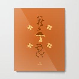 Mushroom Meadow, Enchanted Garden  |  Orange, Brown Metal Print