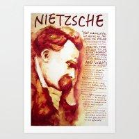 nietzsche Art Prints featuring Nietzsche by Chris Hall Art