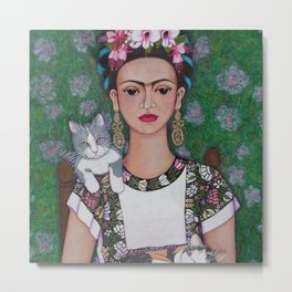 Frida cat lover Metal Print