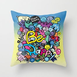 Be Happy doodle monster Throw Pillow
