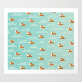 Angel Corgi Art Print