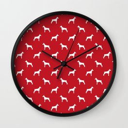 Doberman Pinscher dog pattern red and white minimal dog breed silhouette dog lover gifts Wall Clock