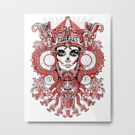 Red Serpent Queen Metal Print