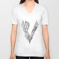 vikings V-neck T-shirts featuring Black Vikings by Fiorella Modolo
