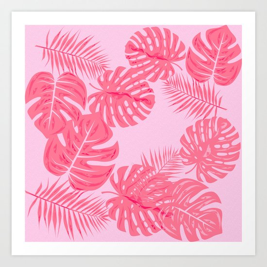 Tropical flamingo pink leaves by famenxt