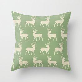 Mid Century Modern Deer Pattern Sage and Tan Throw Pillow