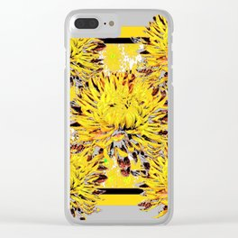 Abstracted Grey-Yellow Chrysanthemums Floral Clear iPhone Case