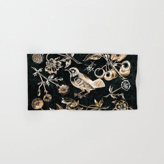 Golden set of birds, beetle, flowers and cherry fruit. Hand & Bath Towel