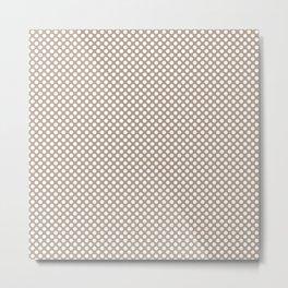 Champagne Beige and White Polka Dots Metal Print