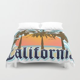 California Vintage Style Retro Cali Travel Souvenir  Duvet Cover