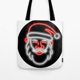Santa Claus Neon Glowing Sign Circle Tote Bag