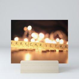 Holiday Christmas Scrabble Merry Christmas Light B Mini Art Print