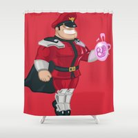 street fighter Shower Curtains featuring Street Fighter - M.Bison by Andre Horton