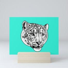 Snow Leopard - turquoise Mini Art Print