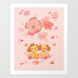 dog couple sweet sakura Art Print