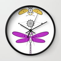 insects Wall Clocks featuring Two Insects by Ukko