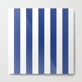 Dark cornflower blue - solid color - white vertical lines pattern Metal Print