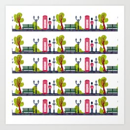 Phone Booth and Guard Pattern Art Print