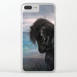 Knight on black Friesian horse Clear iPhone Case