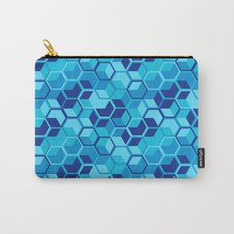 Blue Hexagon Geometric Pattern Carry-All Pouch