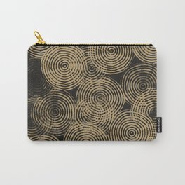 Radial Block Print in Charcoal and Gold Carry-All Pouch