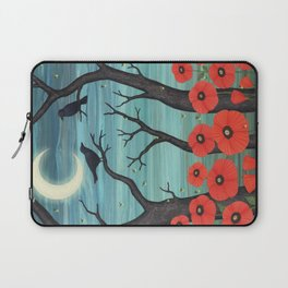 crows, fireflies, and poppies in the moonlight Laptop Sleeve