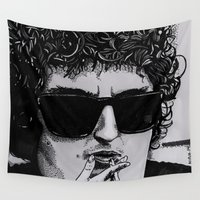 dylan Wall Tapestries featuring Bob Dylan by Drawn by Nina