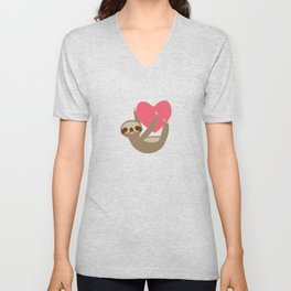 Valentines day card. Funny sloth with a red heart Unisex V-Neck
