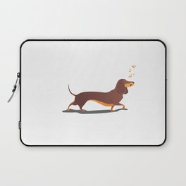 Funny dog sings song. Laptop Sleeve