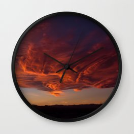Desert Sky on Fire Wall Clock