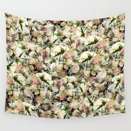 White Rose Floral Pattern Wall Tapestry