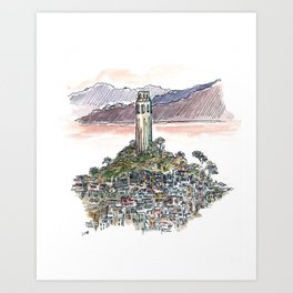 Coit Tower -  San Fancisco - watercolor sketch Art Print